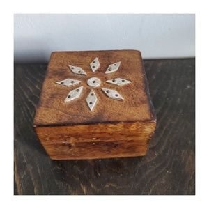 Vintage Hand Made Wooden Box with Metal Detail